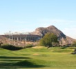 The ninth hole at ASU Karsten Golf Course is a 446-yard par 4 that plays toward Sun Devil Stadium.