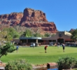 Players practice on the putting green at Oakcreek Country Club in Sedona, Arizona.