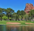 Water bothers shots missed to the left of the 13th green at Oakcreek Country Club in Sedona.