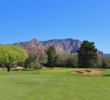 The 14th hole at Sedona's Oakcreek Country Club is a stout par 4 that bends left.