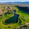 Aerial view of greens no. 14 and no. 13 at SunRidge Canyon Golf Club