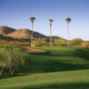 A view of green protected by sand trap at 	Rancho de Los Caballeros Golf Club