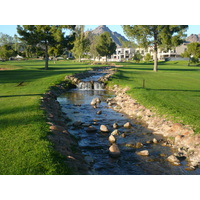No. 18 on Arizona Biltmore Golf Club's Adobe Course includes a creek running down the side.