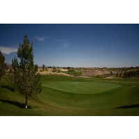 Quarry Pines Golf Club's second hole is a par 4 that plays uphill to an elevated green.