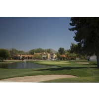 The ninth hole of Tubac Golf Resort and Spa's Otero nine is a short par 4 around water.