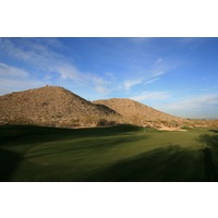 The closing stretch of holes at Arizona Grand Golf Resort play beside South Mountain Park.