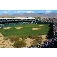 Fans line the par-3 16th hole during the 2012 Waste Management Phoenix Open at the TPC Scottsdale Stadium Course.