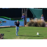 Nick O'Hern looks good but missed the 16th green with this swing during the third round of the 2012 Waste Management Phoenix Open.