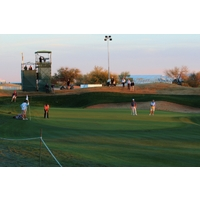 Few fans stuck around near dusk to watch the finish of the second round at the 2012 Waste Management Phoenix Open.