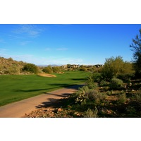 The fifth hole at SunRidge Canyon Golf Club is a long, downhill par 4.