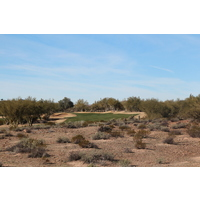 The seventh fairway on the Cholla Course at We-Ko-Pa Golf Club is split, forcing players to choose a side.